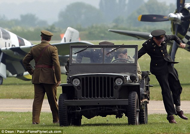 George Clooney filming at RAF/Imperial War Museum Duxford in Cambridgeshire Filmin26