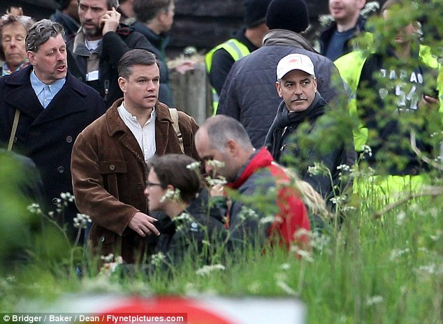 George Clooney filming at RAF/Imperial War Museum Duxford in Cambridgeshire Filmin27