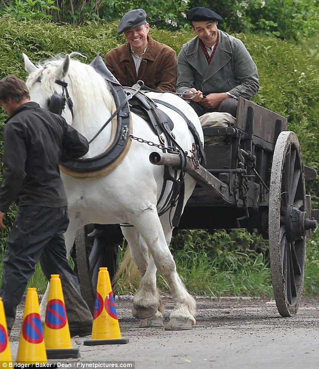 George Clooney filming at RAF/Imperial War Museum Duxford in Cambridgeshire Filmin28
