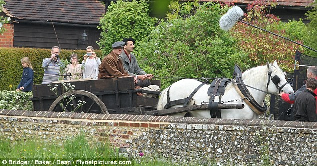 George Clooney filming at RAF/Imperial War Museum Duxford in Cambridgeshire Filmin29