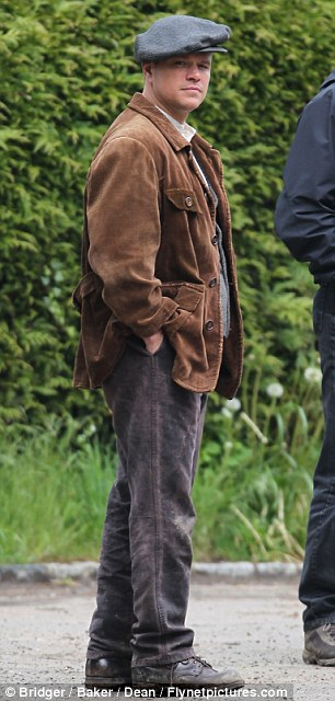 George Clooney filming at RAF/Imperial War Museum Duxford in Cambridgeshire Filmin30