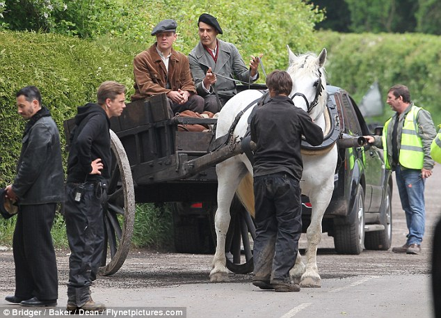 George Clooney filming at RAF/Imperial War Museum Duxford in Cambridgeshire Filmin32