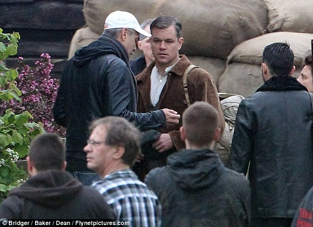 George Clooney filming at RAF/Imperial War Museum Duxford in Cambridgeshire Filmin33
