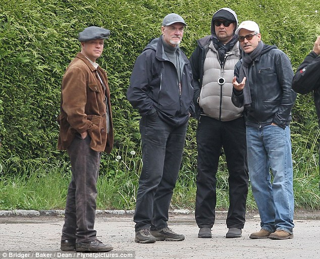 George Clooney filming at RAF/Imperial War Museum Duxford in Cambridgeshire Filmin34