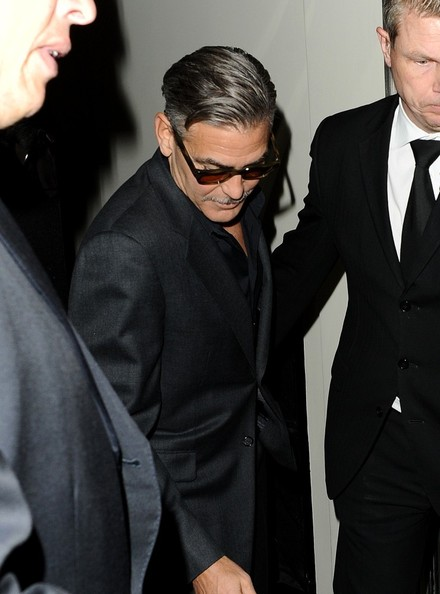 George Clooney exiting his hotel in London  Leavin11