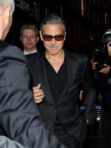 George Clooney exiting his hotel in London  Leavin12