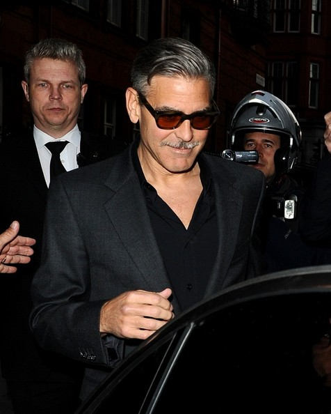 George Clooney exiting his hotel in London  Leavin14