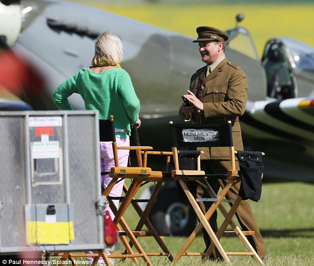 George Clooney filming Monuments Men in Hertfordshire June 3 Mm_clo15