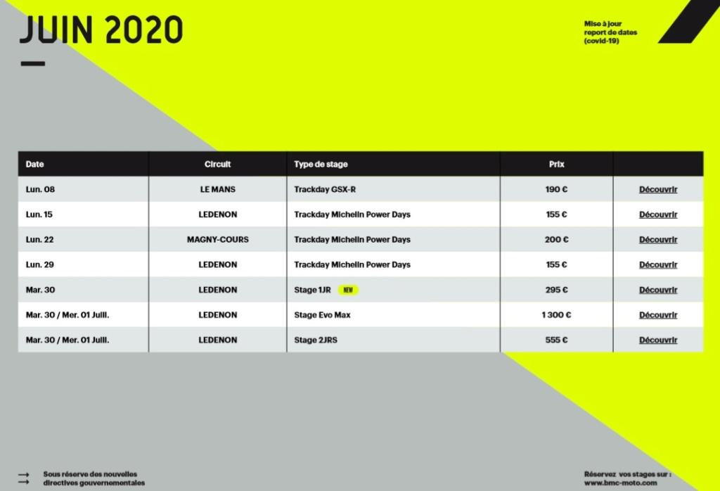 Calendrier roulages BMC 2020 Mis à jour le 16/05/2020 Calend18
