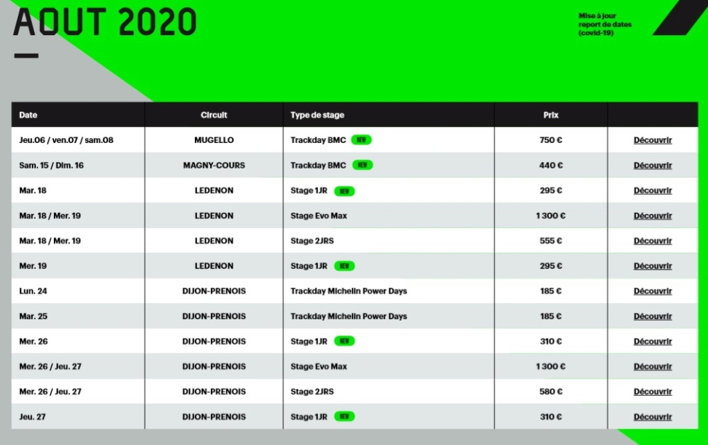 Calendrier roulages BMC 2020 Mis à jour le 16/05/2020 Calend20