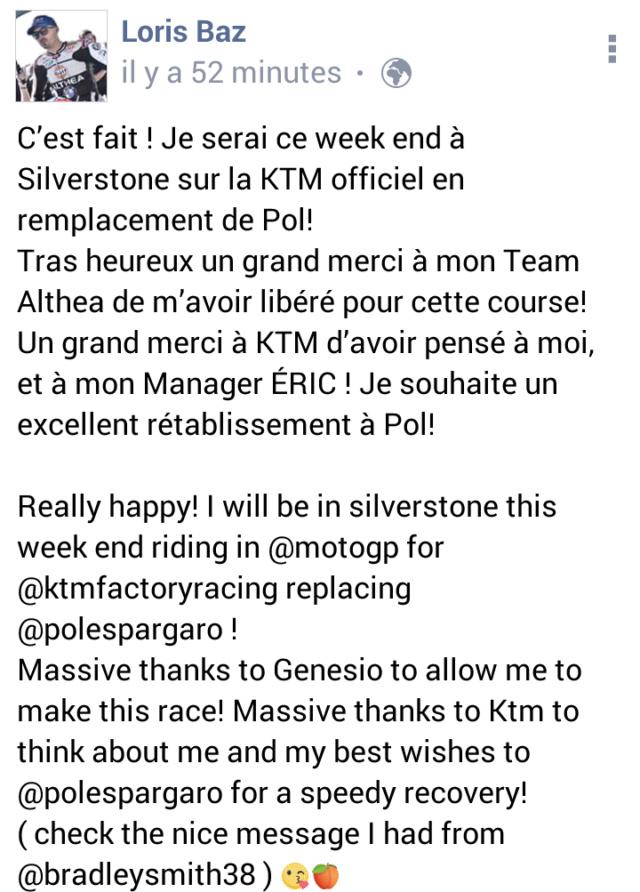 Radio paddock : Loris Baz chez KTM en Motogp... pour remplacer Espargaro en Angleterre Screen18