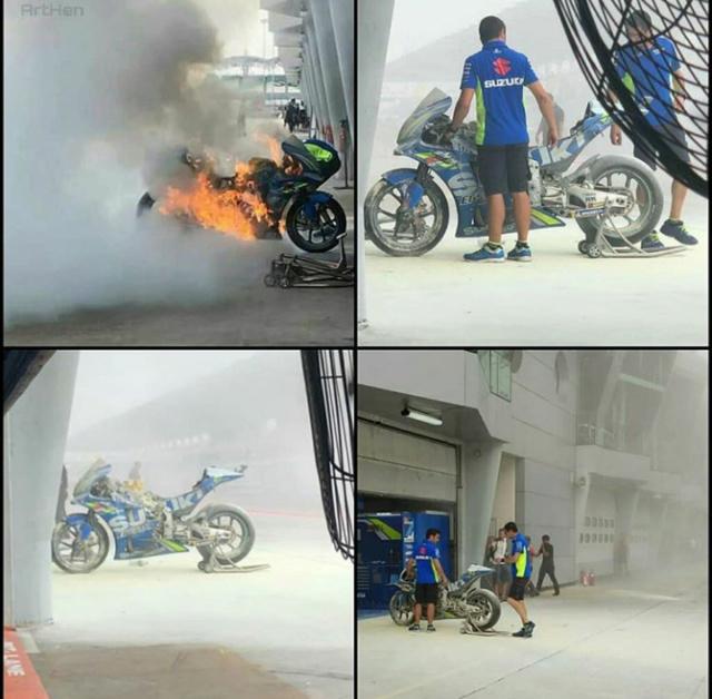 La Suzuki d'Alex RINS en feu à Sepang !!!! Screen56