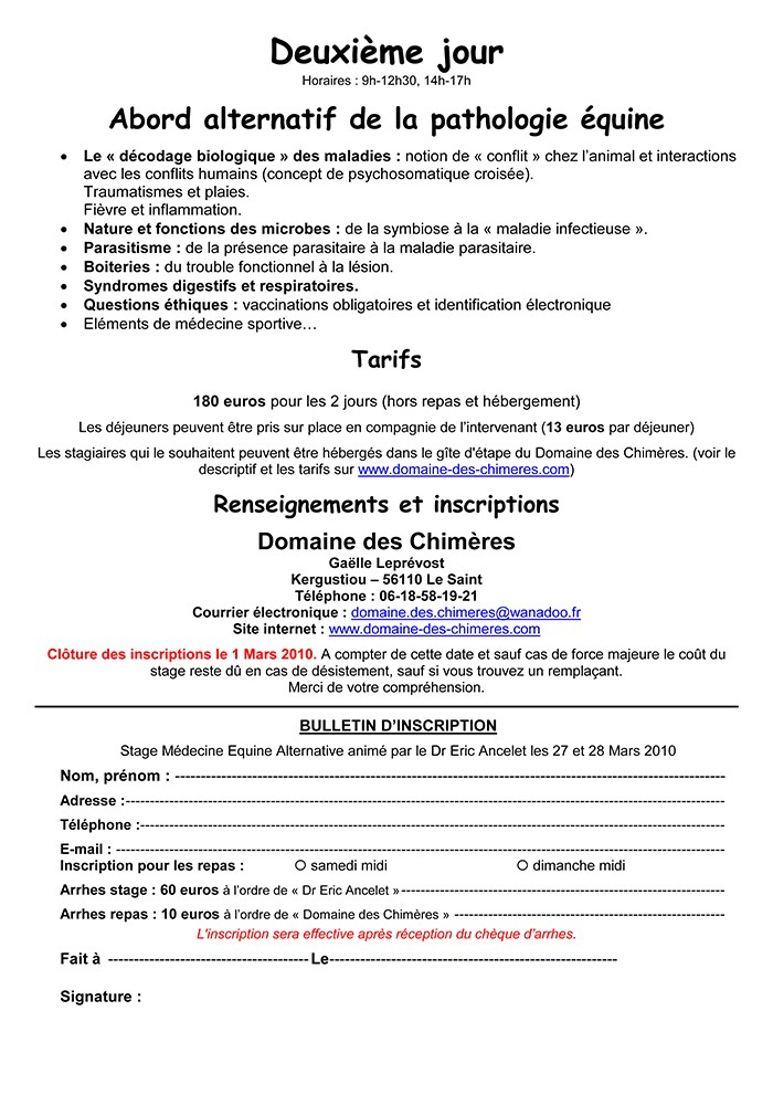 Stage du Dr Ancelet en Bretagne (56) Ancele11
