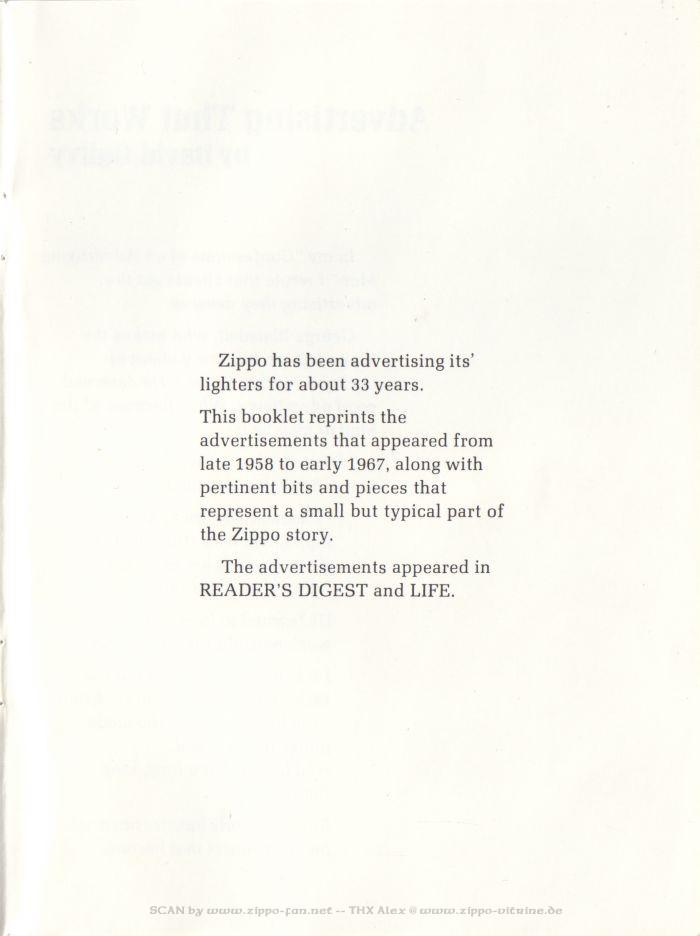 Catalogue Zippo publicitaire de 1958 - 1967 0313