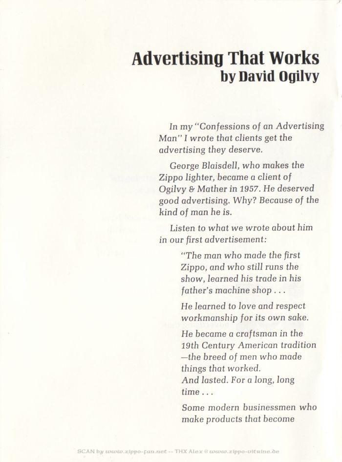 Catalogue Zippo publicitaire de 1958 - 1967 0413