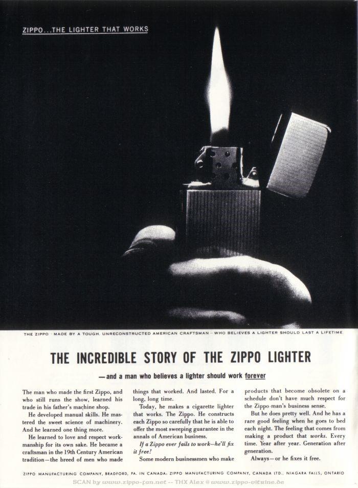 Catalogue Zippo publicitaire de 1958 - 1967 0813