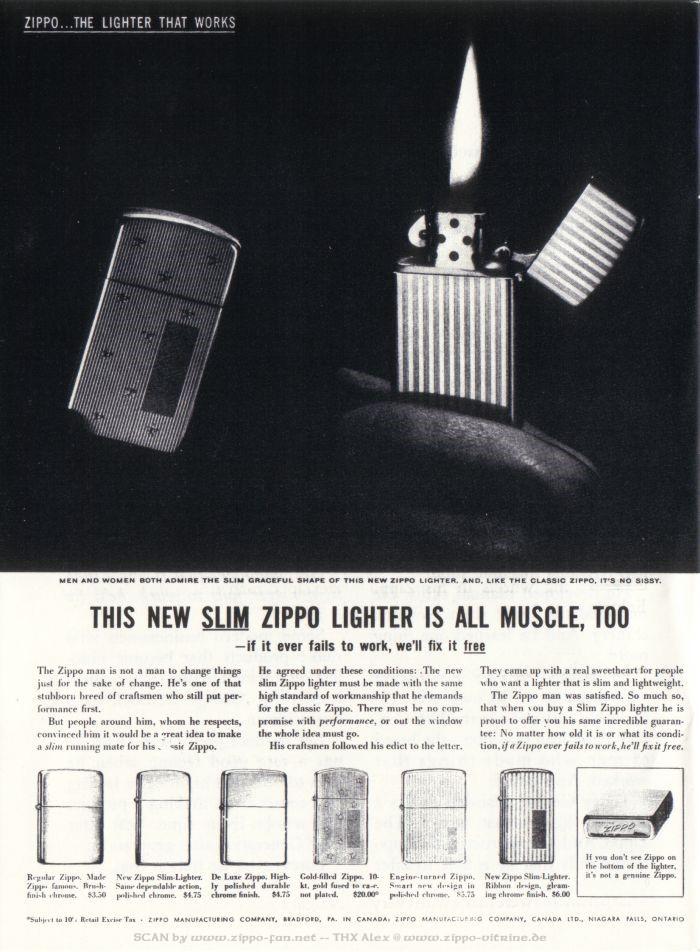 Catalogue Zippo publicitaire de 1958 - 1967 1213