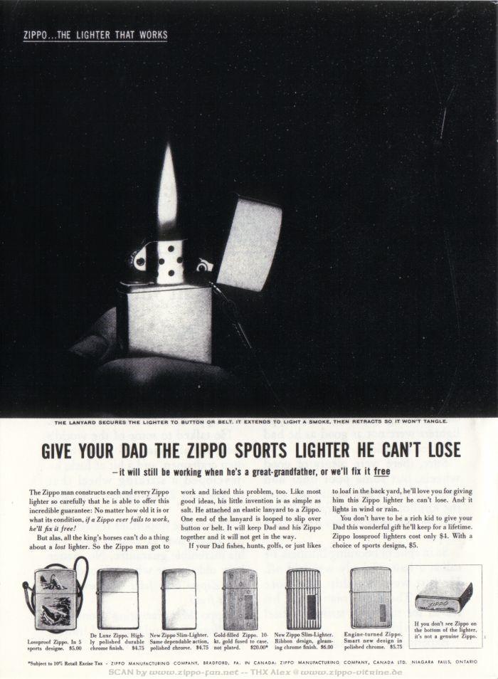 Catalogue Zippo publicitaire de 1958 - 1967 1413