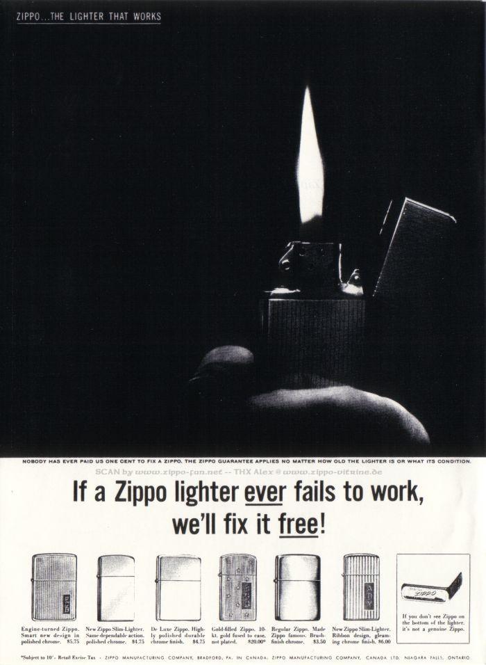 Catalogue Zippo publicitaire de 1958 - 1967 1613