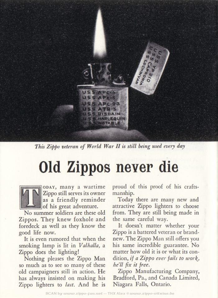 Catalogue Zippo publicitaire de 1958 - 1967 1813
