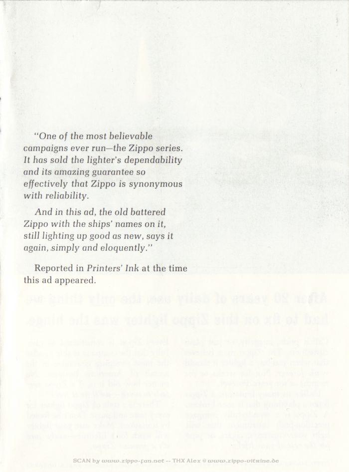 Catalogue Zippo publicitaire de 1958 - 1967 1913