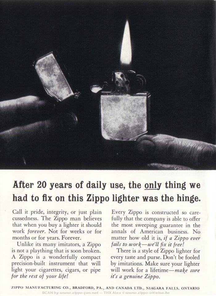 Catalogue Zippo publicitaire de 1958 - 1967 2013