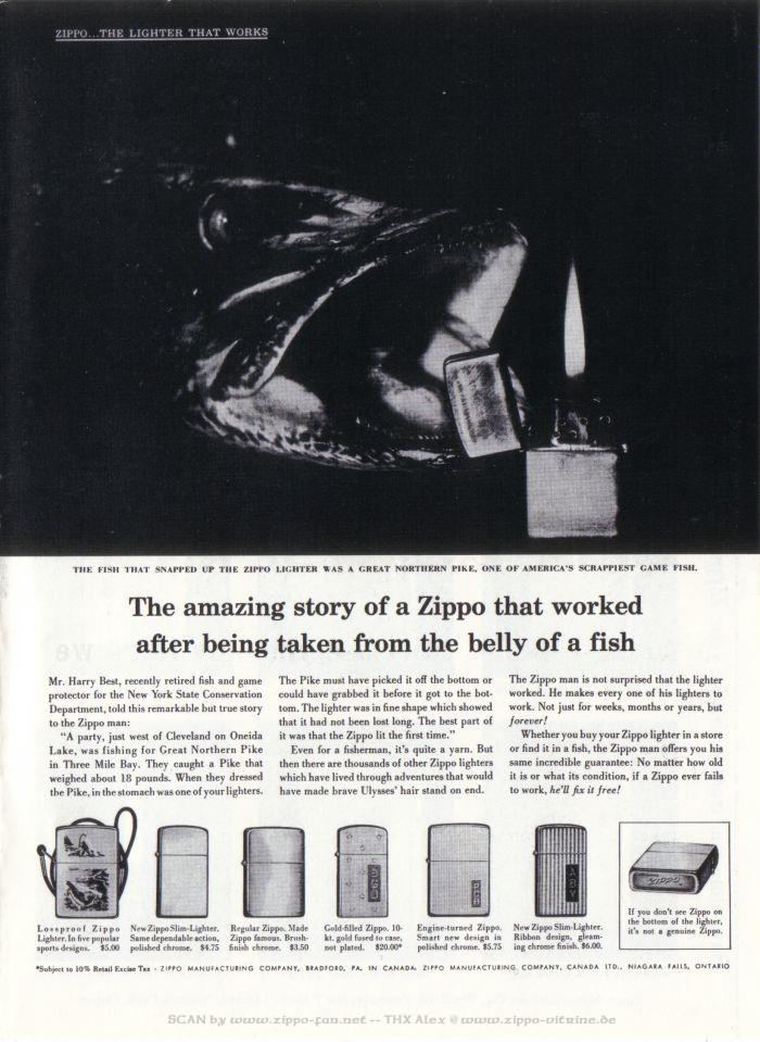Catalogue Zippo publicitaire de 1958 - 1967 2113