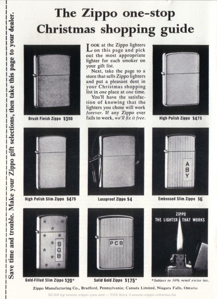 Catalogue Zippo publicitaire de 1958 - 1967 2213