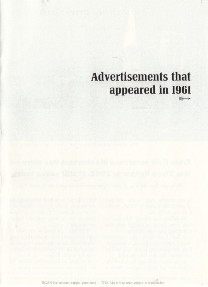 Catalogue Zippo publicitaire de 1958 - 1967 2313