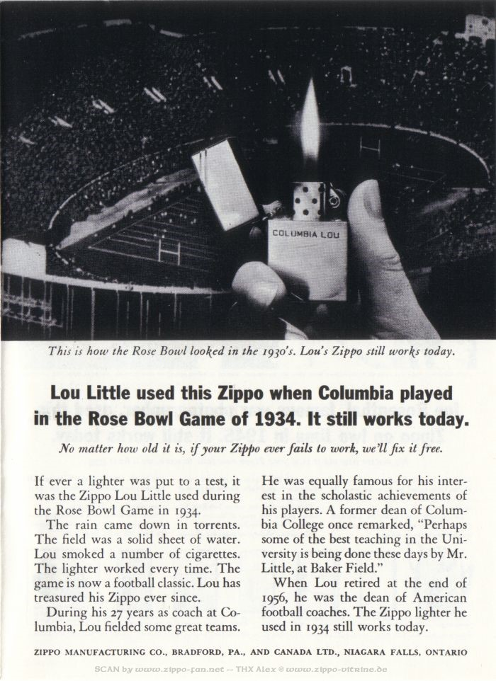 Catalogue Zippo publicitaire de 1958 - 1967 2513