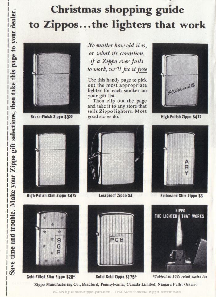 Catalogue Zippo publicitaire de 1958 - 1967 2813
