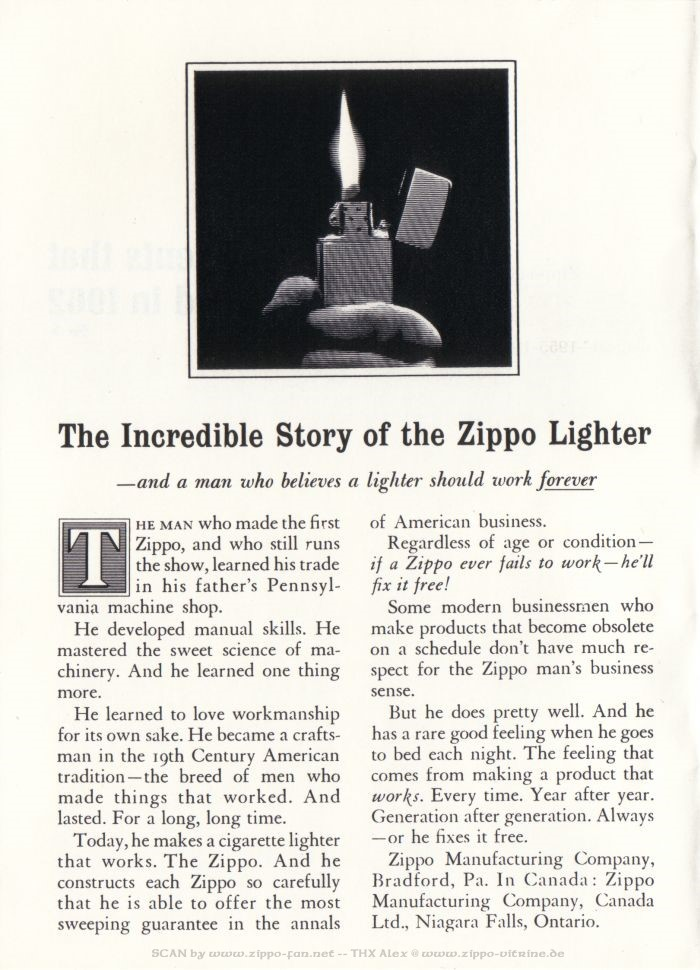 Catalogue Zippo publicitaire de 1958 - 1967 3013