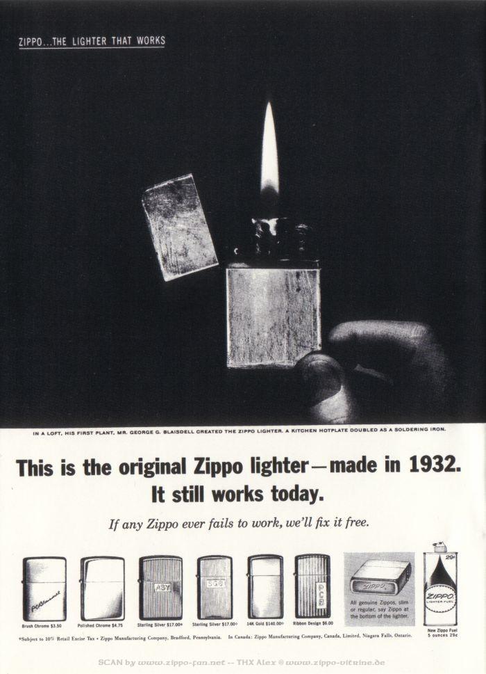 Catalogue Zippo publicitaire de 1958 - 1967 3213