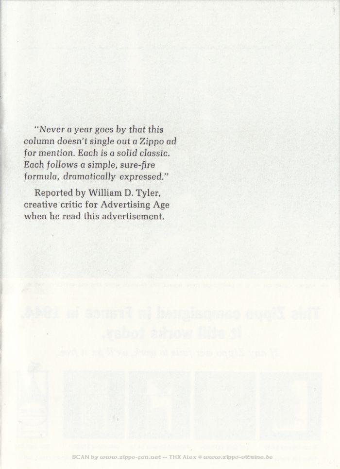 Catalogue Zippo publicitaire de 1958 - 1967 3313