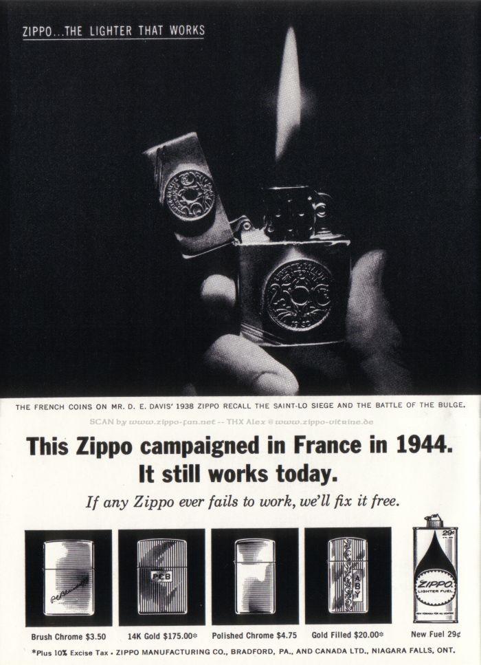 Catalogue Zippo publicitaire de 1958 - 1967 3413