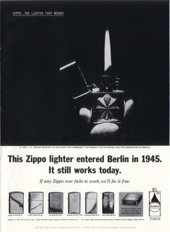 Catalogue Zippo publicitaire de 1958 - 1967 3515