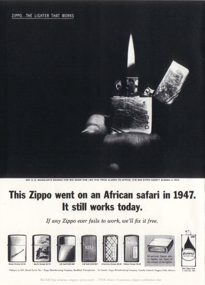 Catalogue Zippo publicitaire de 1958 - 1967 3613