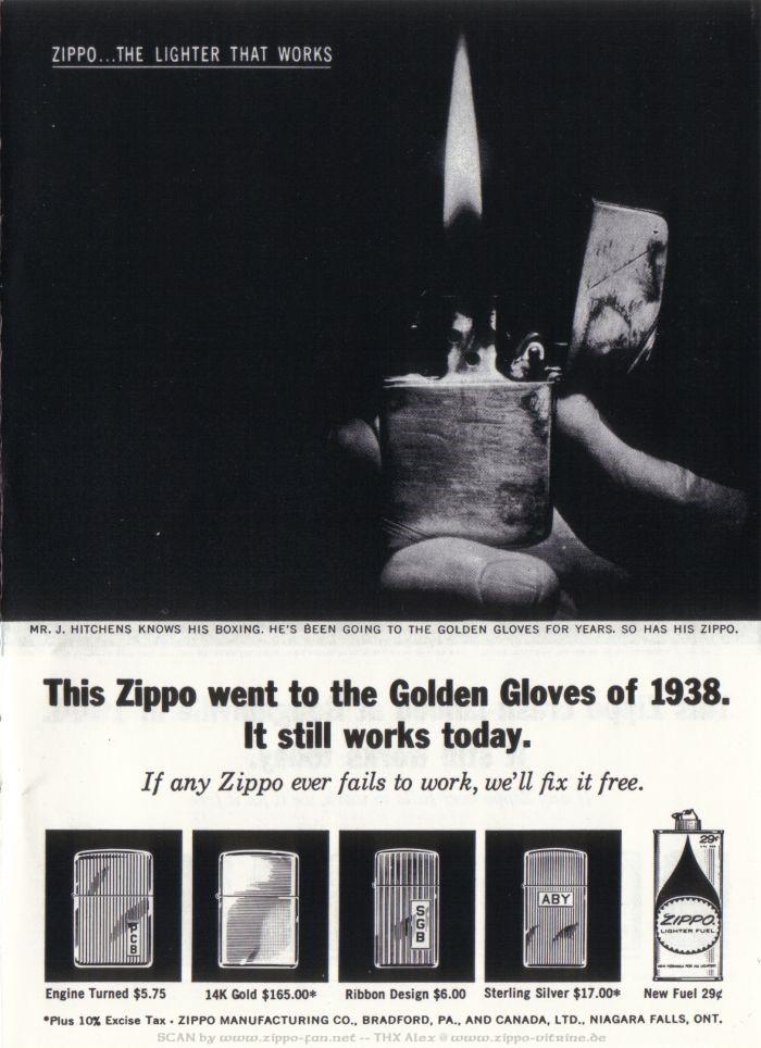 Catalogue Zippo publicitaire de 1958 - 1967 3712
