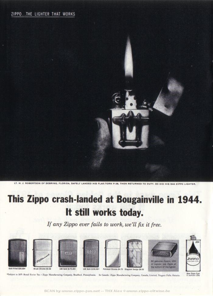 Catalogue Zippo publicitaire de 1958 - 1967 3812