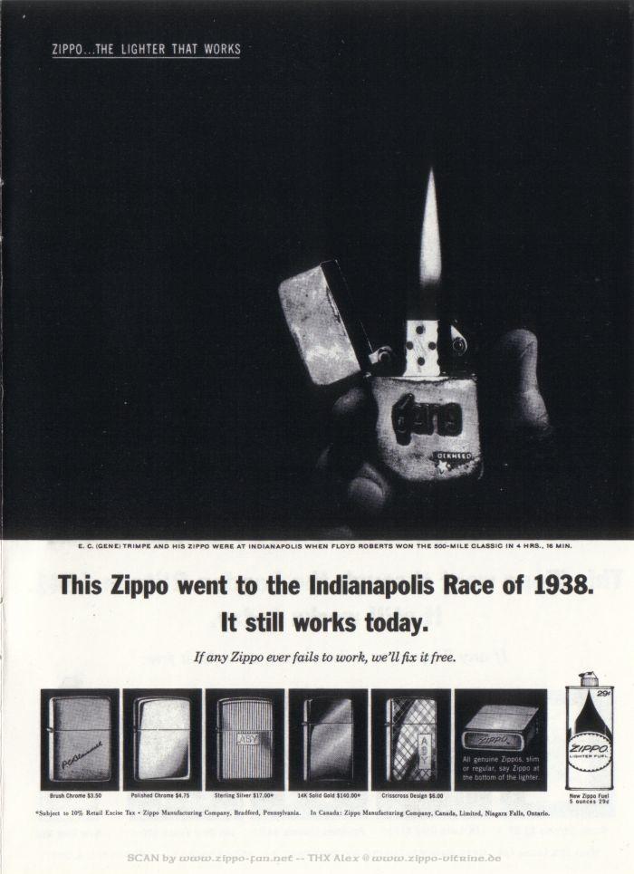 Catalogue Zippo publicitaire de 1958 - 1967 4112