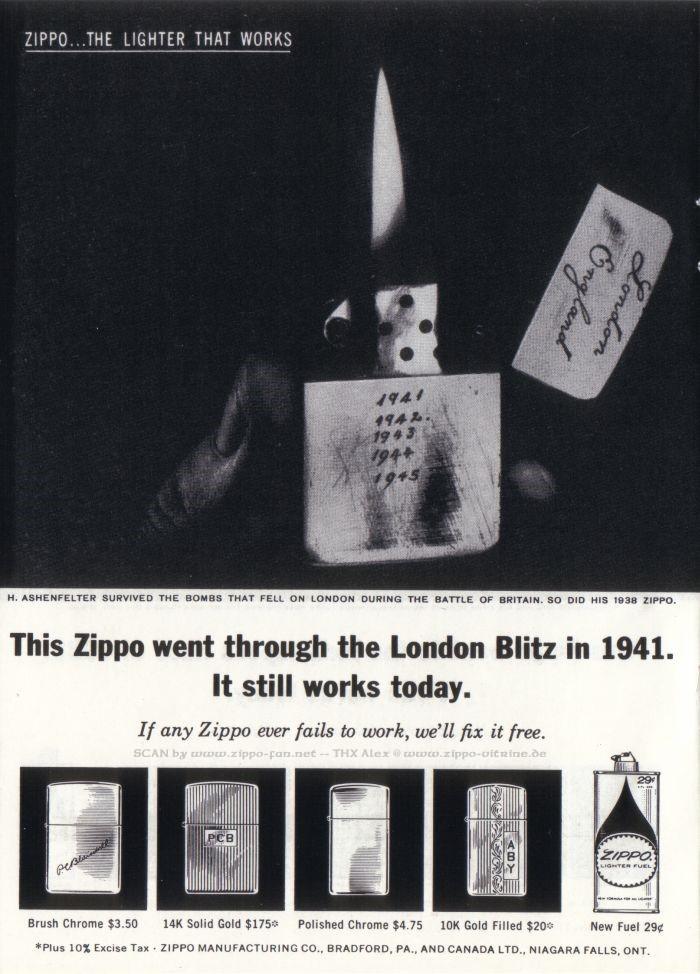Catalogue Zippo publicitaire de 1958 - 1967 4212