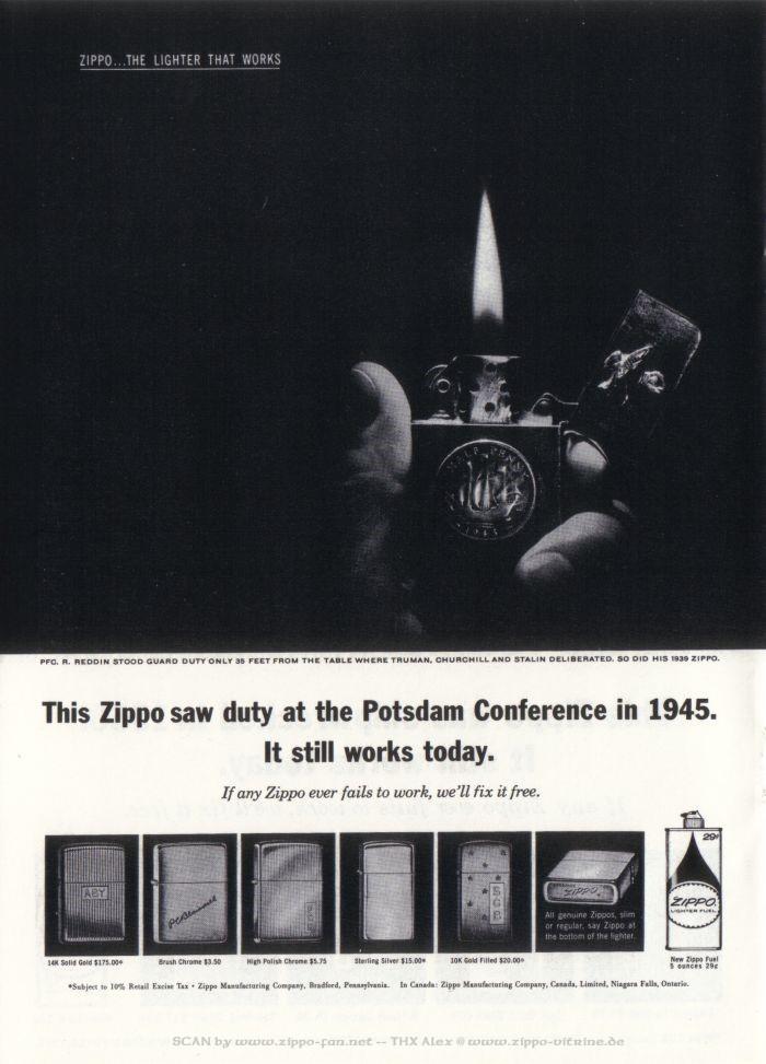 Catalogue Zippo publicitaire de 1958 - 1967 4412