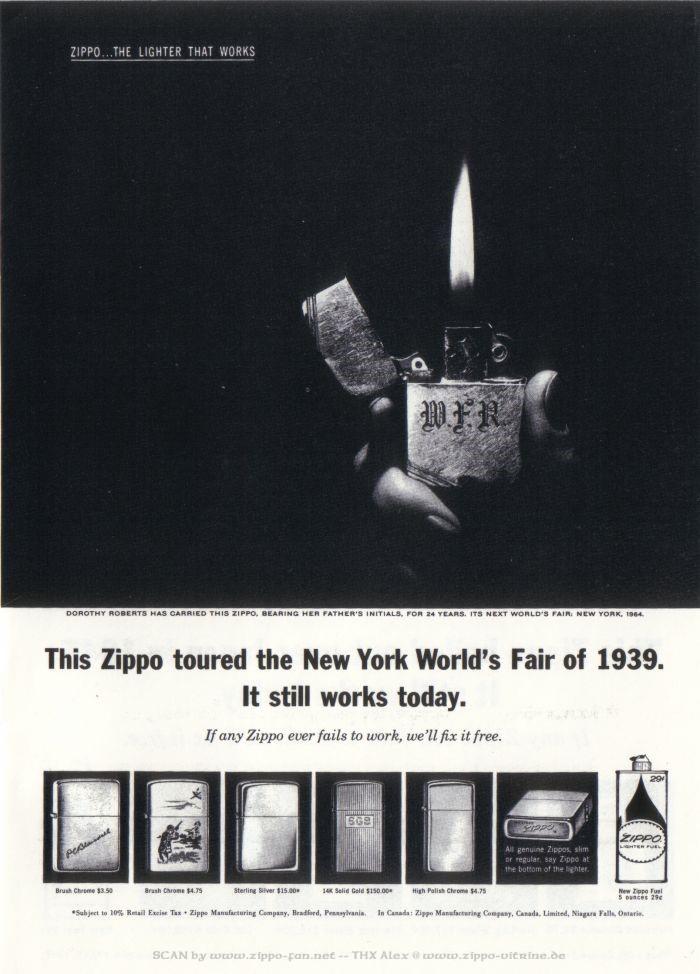 Catalogue Zippo publicitaire de 1958 - 1967 4513