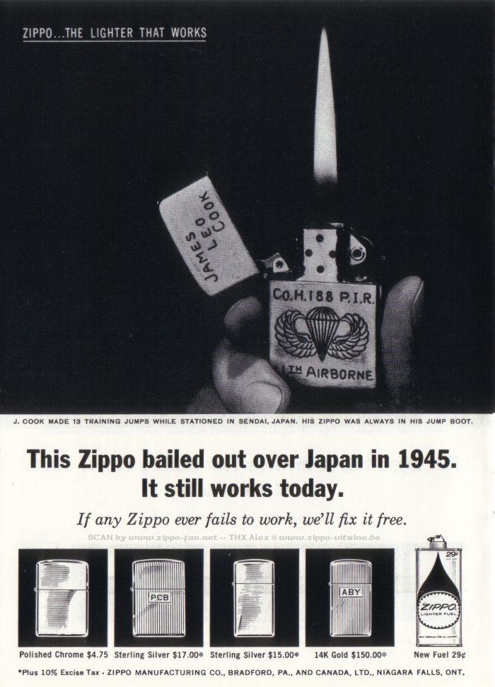 Catalogue Zippo publicitaire de 1958 - 1967 4612