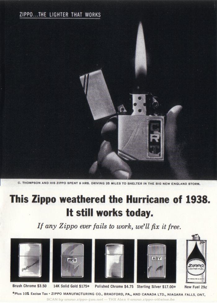 Catalogue Zippo publicitaire de 1958 - 1967 4712