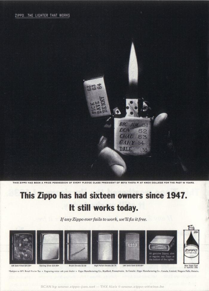 Catalogue Zippo publicitaire de 1958 - 1967 4812