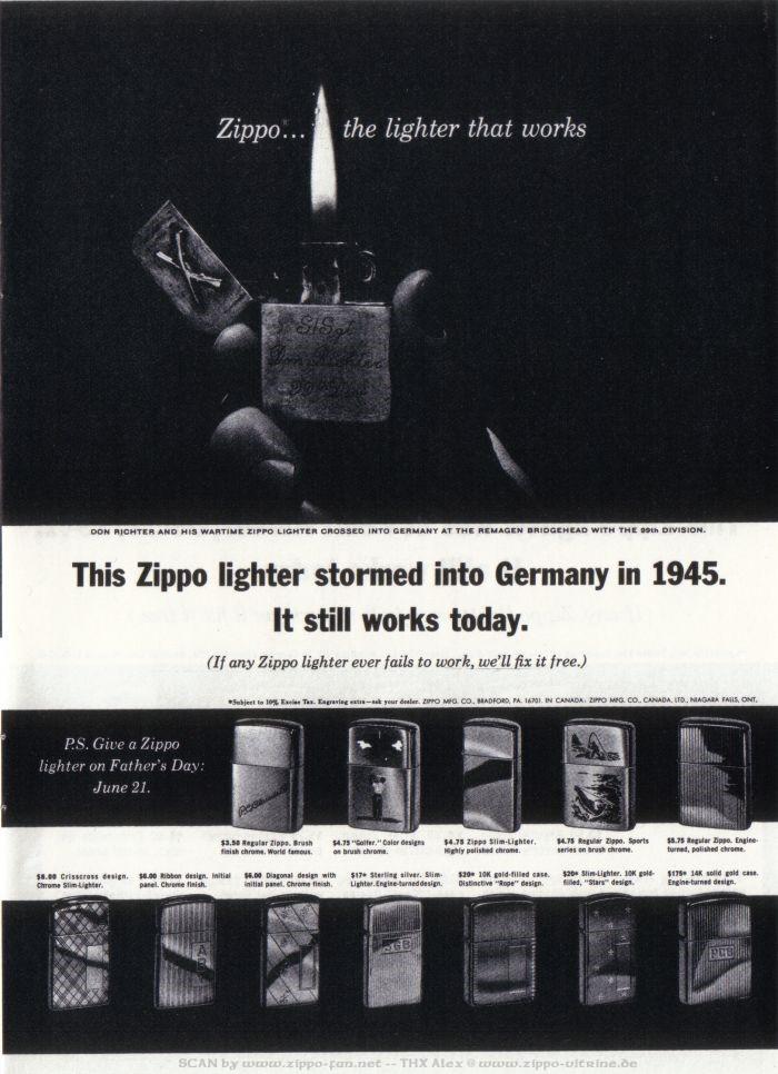 Catalogue Zippo publicitaire de 1958 - 1967 5112