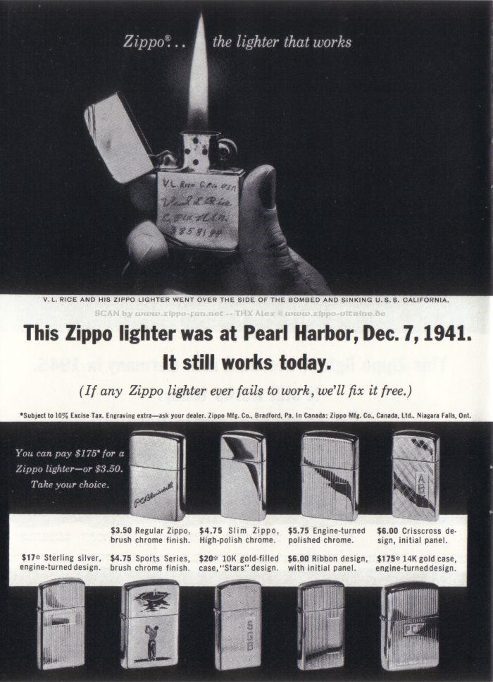 Catalogue Zippo publicitaire de 1958 - 1967 5212