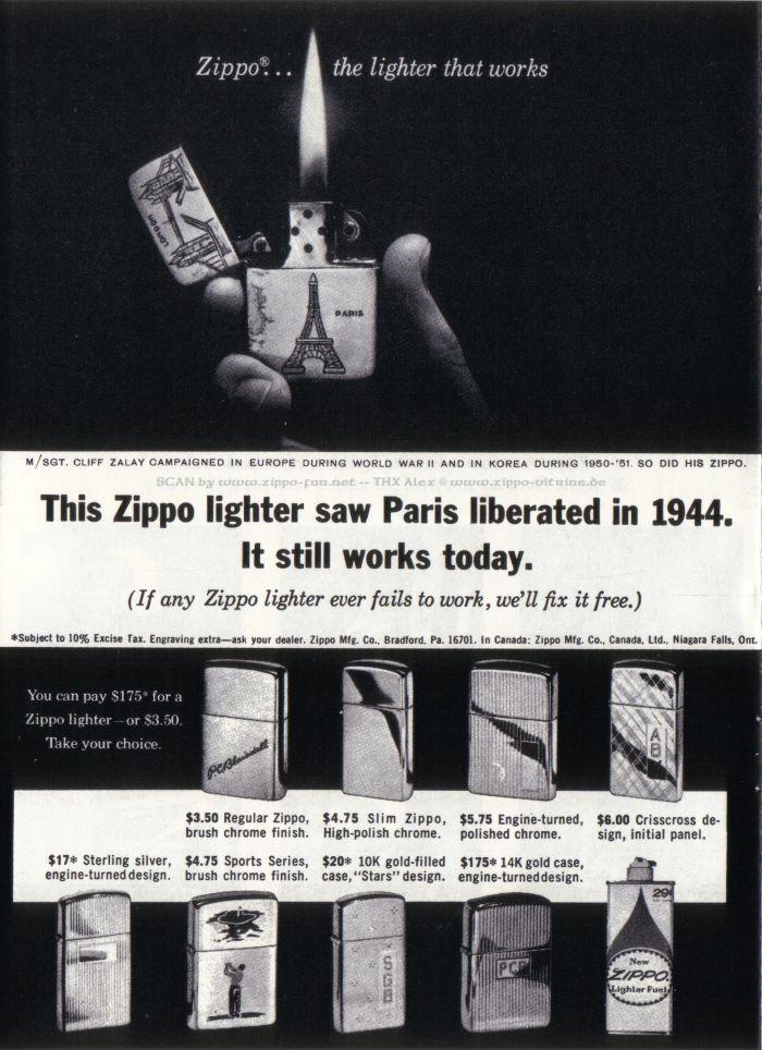 Catalogue Zippo publicitaire de 1958 - 1967 5414
