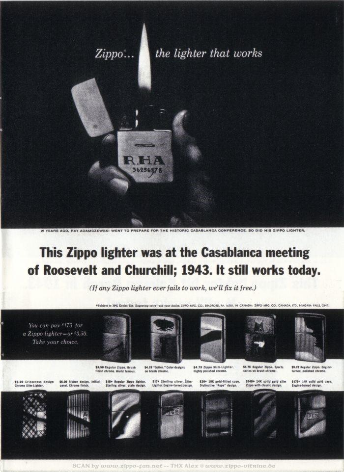 Catalogue Zippo publicitaire de 1958 - 1967 5512